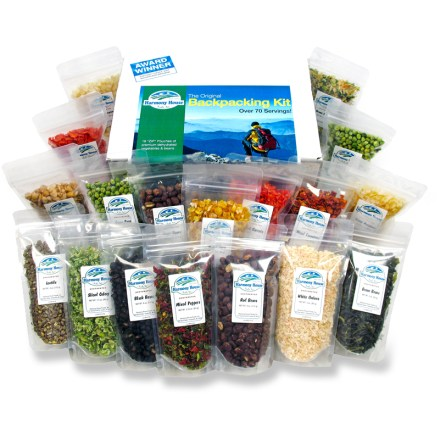 Camp and Hike The Harmony House Backpacking Kit features 18 zip pouches of dehydrated vegetables and beans allowing you  to make your own tasty trail dishes! - $49.95