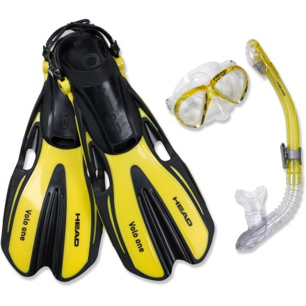 Kayak and Canoe The Head Marlin Mask, Snorkel and Fins set brings helps you access the world under the waves in perfect clarity and exceptional comfort. Mask features beveled sides that provide a wide field of vision and an adjustable head strap with quick-release buckles. Silicone face skirt creates a tight seal with your face and helps keep water out. Snorkel features a silicone mouthpiece that fits comfortably in your mouth. A shaped top prevents waves from entering snorkel from the front, back and sides, ensuring you won't be suprised by inhaling and errant wave. Snorkeling fins are easy to get on and off your feet thanks to a quick-release strap system. Angle of fin blade is optimized for maximum thrust with minimal effort. Center groove channels water to enhance your glide. The Head Marlin Mask, Snorkel and Fins set includes a reusable mask storage box and a mesh sack. - $70.00