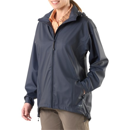The women's Helly Hansen Voss jacket offers nonbreathable, waterproof/windproof protection and works well for non-aerobic activities where staying dry is your main concern. Waterproof stretch polyurethane face fabric has laminated knit polyester backing so sweat doesn't sit directly on skin. Nylon knit lining is odor and mildew resistant. Microweld(TM) seam construction ensures complete protection. Hood stores in snap-closure collar. Waterproof windflap backs full-length front zipper for extra protection. Adjustable snap cuffs and drawcord hem help seal out rain and wind; drop tail hem adds protection. Two flap-close hand pockets. Generous cut layers easily. - $34.93