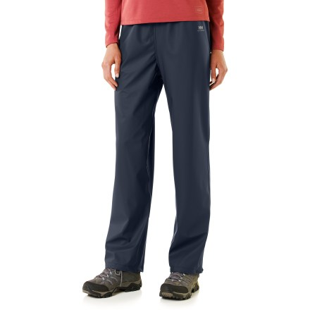 These women's Helly Hansen Voss pants offer nonbreathable, waterproof/windproof protection. They work well for non-aerobic activities where staying dry is your main concern. Waterproof stretch polyurethane face fabric has laminated polyester knit backing so sweat doesn't sit directly on skin;. Nylon knit lining is odor and mildew resistant. Microweld(TM) seam construction ensures complete protection. Elastic drawcord adjustable waist. Snap-close cuffs. Generous cut layers easily. - $20.93