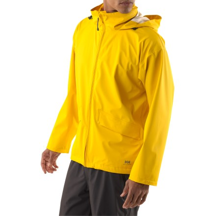 Voss offers nonbreathable, waterproof/windproof protection and works well for non-aerobic activities where staying dry is your main concern. Waterproof stretch polyurethane face fabric has laminated knit polyester backing so sweat doesn't sit directly on skin. Knit backing is odor and mildew resistant. Microweld(TM) seam construction ensures complete protection. Hood stores in snap-closure collar. Waterproof windflap backs full-length front zipper for extra protection. Adjustable snap cuffs and drawcord hem help seal out rain and wind; drop tail hem adds protection. Two flap-close hand pockets. Generous cut layers easily. - $24.83