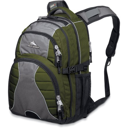 Entertainment Suitable for office, campus and light travel use, the High Sierra Swerve is a sturdy, well-designed daypack ready for any urban adventure. 1 of 2 large compartments boasts an expandable computer sleeve that fits laptops up to 15 in.; features a handy back-access zipper for easy placement or removal. Front organizer compartment comes with multiple pockets and sleeves for pens/pencils, maps, and postcards; also features a detachable key fob. A front pocket provides room for a CD or MP3 player and an exit port for headphones. Tricot-lined pocket stores sunglasses, PDA or cell phone. 2 side mesh pockets are perfect for water bottles (not included). Anatomically shaped Vapel(R) mesh AIRFLOW(R) padded shoulder straps with High Sierra Suspension Strap System optimize comfort and fit. Left shoulder strap features a cell phone pocket with flap closure. Vapel mesh padded back panel with air channels wicks moistures and ventilates away excess body heat. High Sierra Swerve daypack features side compression straps that stabilize the load. Closeout. - $44.93