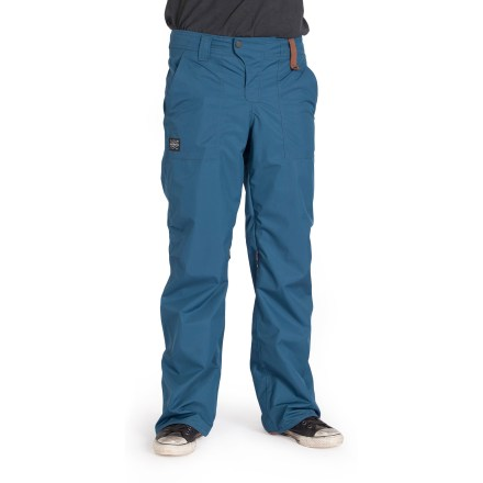 Snowboard The HOLDEN Field shell pants feature waterproof, breathable protection and a tough, streetwise look you can take with you to the mountain. Recycled polyester shell fabric features a breathable waterproof laminate to keep you warm and dry while providing ample breathability. 100% taped seams create the ultimate seal against moisture and snow entry. Durable Water Repellent finish causes water to bead up and roll off, fending off light rain showers and snow. Recycled polyester taffeta lining wicks moisture and provides smooth, next-to-skin comfort. Targeted fleece in pockets, waist, thighs, knees and bottom provides warmth in key places without being bulky. Hidden zippered vents along inner thighs let heat and moisture escape so you don't overheat. Waist adjusts internally for a quick, easy customized fit. Heel cuffs reinforced with leather for protection from boots, bindings, bathroom floors and parking lot carnage. Front handwarmer pockets and rear pockets offer plenty of storage for small essentials. Integrated stretch boot gaiters (with boot clip) provide extra protection when wearing HOLDEN Field pants in deep powder. - $120.83