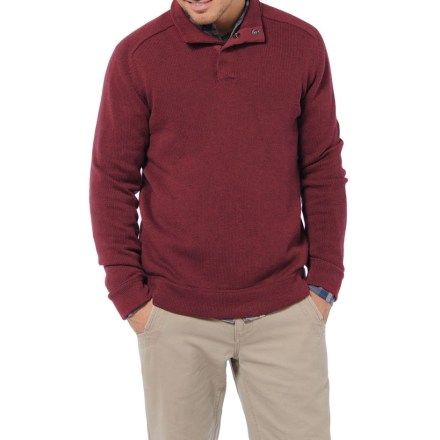 Destined to be your new favorite, the Horny Toad Lowkey Quarter-Snap sweater looks nice on and will take the chill out of a cool afternoon. 5-gauge cotton/merino wool blend is lightweight yet warm for casual outings. Fold the collar down or flip it up and use the snaps to keep it wrapped around your neck. - $29.83