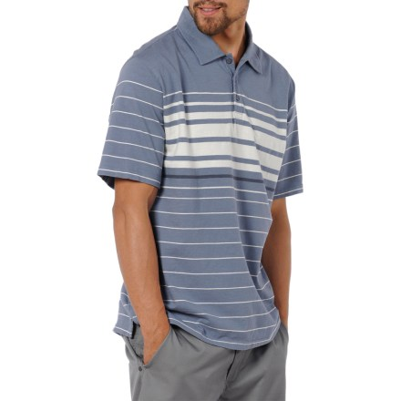 The Horny Toad Foster polo shirt pairs well with comfortable shorts or jeans. Organic cotton in a textured jersey knit is comfortable in warm weather. Horny Toad Foster polo shirt has a slight retro look for great style. Straight hem with side splits looks great left untucked. Closeout. - $21.83