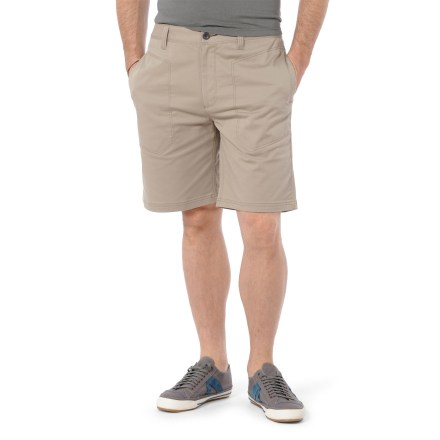 Surf The Horny Toad Highroad shorts are built for casual times around town. Cotton and recycled polyester blend fabric is soft and breathable, and features a touch of spandex to move with you. Drop-in phone pocket on leg features a hidden snap closure. 2 hand pockets. Button fly with zippered closure. Closeout. - $27.83