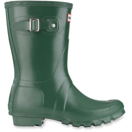 The Hunter Original Short rain boots are easy to slip on for fun days in the rain. Tuck your pants in to save them from puddles and protect hems from dragging on wet sidewalks. Waterproof, vulcanized natural rubber uppers are flexible and built on orthopedic lasts to offer the legendary Hunter fit. Shaft circumference is 15 in. and based on size 7; measurement is for the outside of the boot shaft and, in general, the internal measurement is roughly 1 in. shorter. Classic buckles allow you to tighten boot tops, helping to keep the elements out. Knitted nylon linings wick moisture and dry quickly to help keep your feet dry and comfortable. Multilayered sponge insoles and rubber midsoles ensure cushioning underfoot. Natural rubber outsoles on the Hunter Original Short rain boots feature a short heel and lugged tread for traction and durability. - $61.83