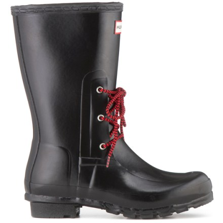 These sporty Hunter Ackley rain boots bring a spin to the classic rain boot look, adding laces outside and soft fleece linings inside, all while maintaining waterproof protection. Waterproof, vulcanized natural rubber uppers are flexible and offer a convenient slip-on design; laces add a bit of style to the classic rain boot look. Cozy polyester microfleece linings help insulate, wick moisture and dry quickly to enhance comfort and warmth. Multilayered sponge insoles and rubber midsoles ensure cushioning underfoot. Rubber outsoles on the Hunter Ackley rain boots feature a short heel and lugged tread for traction and durability. - $66.83