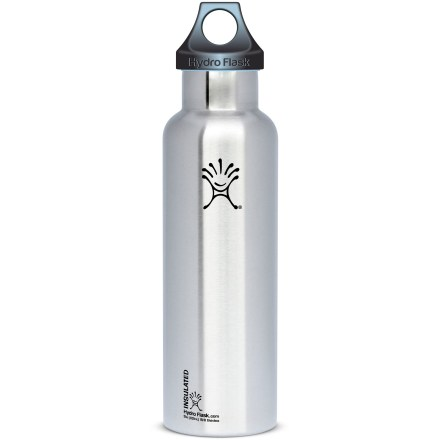 Camp and Hike The 21 fl. oz. Hydro Flask Standard-Mouth vacuum water bottle keeps hot drinks hot for 12 hrs. and cold drinks cold for 24 hrs. Fill it with ice water at 8 a.m. and have a cold drink the next morning! - $27.95