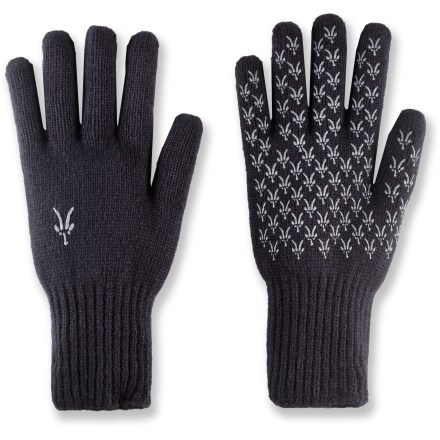 The midweight Ibex Knitty Gritty gloves are constructed of lambswool for warmth and natural protection from cool, wet weather. Soft lambswool knit sheds water and provides lightweight warmth without bulkiness. Grippy pattern on the palms improves handling in wet conditions. Hand wash. - $16.93