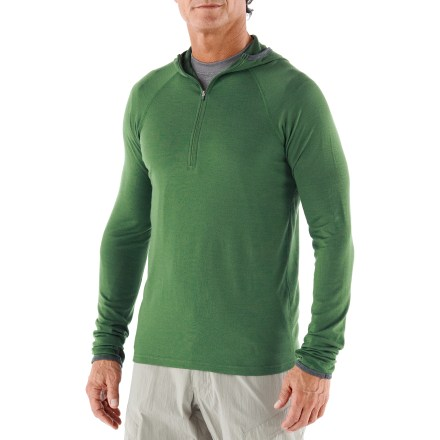 The Ibex Hooded Indie top for men can be worn next to skin or on top of a light layer for active days in the outdoors. - $59.83