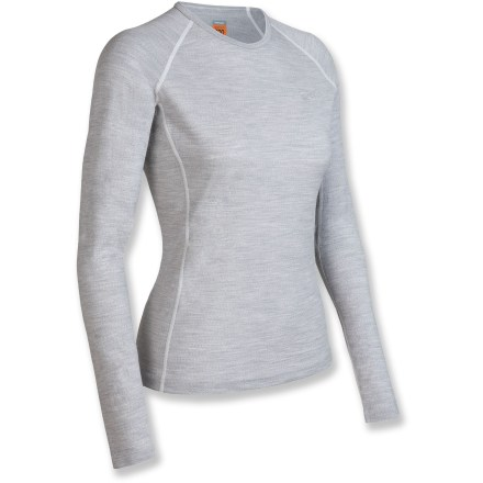 The Oasis long-sleeve crew from Icebreaker helps you stay comfortable all day long and in any temperature. Made of soft, nonirritating merino wool, the Nature 200 underwear crew resists odors naturally. Merino wool wicks away moisture and breathes to regulate temperature for outstanding comfort in a variety of conditions. With a UPF rating of 50+, fabric offers very good protection from UV light. Elastic trim at neck. Flatlock seams reduce chafing and increase overall comfort. Slim fit is designed to reduce excess bulkiness. Machine washable, line dry or dry flat in shade. - $55.93