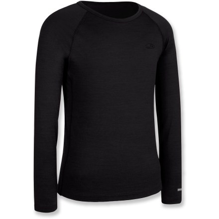 The Icebreaker Bodyfit 200 Oasis crew top offers kids a comfortable layer of clothing for cold days of playing in the snow or for everyday use. - $24.83