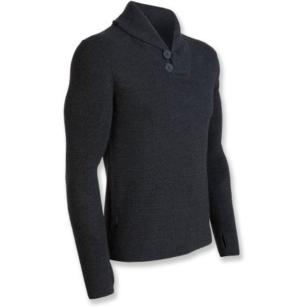 Combining luxurious merino wool with modern style, the Icebreaker Orion sweater is the perfect top for cool-weather adventures around town. Made of soft, nonirritating merino wool, this sweater insulates, wicks away moisture and resists odors-naturally! Rolled collar and 2 buttons add style. Dry clean only. - $174.93