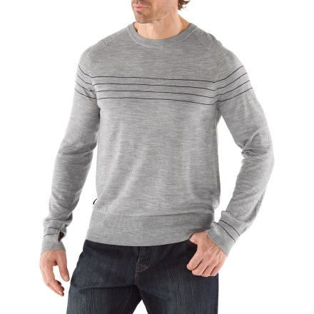 Perfect for nights out on the town, the Icebreaker Aries Crewe sweater melds high style with supreme comfort. Made of soft, lightweight merino wool, this sweater insulates, wicks away moisture and breathes-naturally! Thumbholes in the sleeves help keep hands and wrists warm. Dry clean only. - $90.83