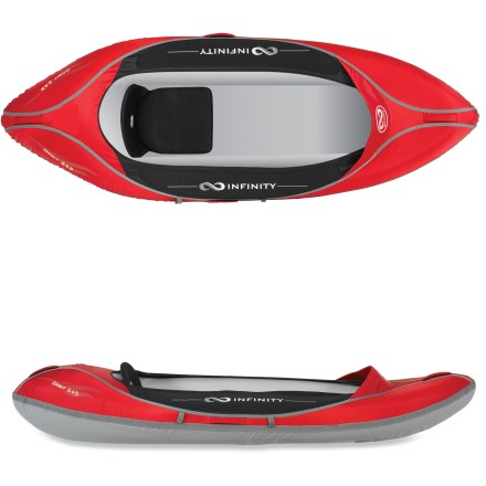 Kayak and Canoe The Infinity Orbit 245 inflatable kayak solves your kayak storage issues, and offers you an easy way to get on the water. Highly maneuverable in lakes and slow-moving rivers, the short length offers easy-to-transport fun whether you're a beginner or a seasoned paddler. Tough nylon outer shell and tri-laminated PVC tarpaulin material resist abrasion. Welded bladders create a rigid hull without the use of complicated frame parts. Padded seat with backrest and adjustable footrests create a comfortable paddling position. Spray visor keeps waves from entering cockpit, and paddle keeper frees up hands for photography or fishing. Bow and stern carrying handles make getting the Infinity Orbit 245 inflatable kayak to the water a breeze. Includes backpack, hand pump, repair kit and drain plug. Closeout. - $274.83