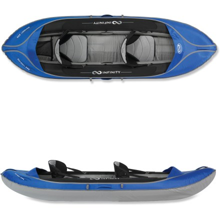 Kayak and Canoe The Infinity Odyssey 295 tandem inflatable kayak offers you and a friend quality time and comfort on the water. Highly maneuverable in lakes and slow-moving rivers, the 9 ft. 8 in. length offers stability and fun whether you're a beginner or a seasoned paddler. Tough nylon outer shell and tri-laminated PVC tarpaulin material resist abrasion. Welded bladders create a rigid hull without the use of complicated frame parts. Padded seats with backrests and adjustable footrests create a comfortable paddling position. Spray visor keeps waves from entering cockpit, and paddle keepers free up hands for photography or fishing. Stern storage area offers room for day-paddling supplies. Bow and stern carrying handles make getting the Infinity Odyssey 295 tandem inflatable kayak to the water a breeze. Includes backpack, hand pump, repair kit and drain plug. Closeout. - $366.83
