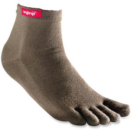 Fitness Like gloves for your feet, the innovative Injinji Performance-Series Original-Weight crew toesocks virtually prevent blisters with a seamless construction that protects each toe. Anatomical Molding System(TM) with CoolMax(R) polyester conforms to your feet for increased blood and air circulation. Individual anatomic toe sleeves form a thin anti-blister membrane between toes to eliminate skin-against-skin friction. 3-ply flex construction prevents sock movement while increasing wicking and circulation. The precisely stitched Vector Heel prevents bunching and allows for a comfortable fit. Double-layered welt top maintains shape for long-lasting performance and support. Ideal for marathons and long-distance running. CoolMax(R) wicks moisture, dries quickly and breathes well, allowing you to enjoy the benefits of cool, dry feet. Proudly carries the Seal of Acceptance from the American Podiatric Medical Association. *Offer not valid for sale-price items ending in $._3 or $._9. - $6.83