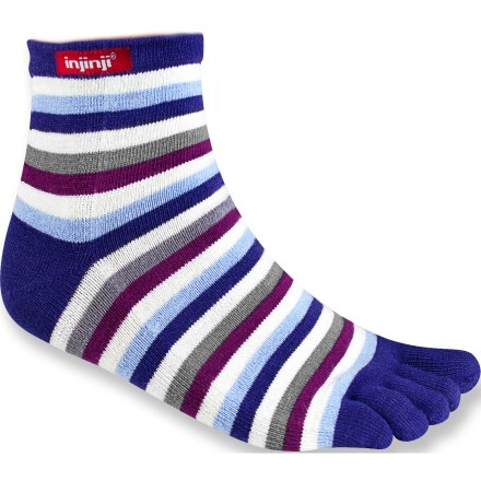 The fun and bright Injinji Rainbow Stripe Mini Crew toe socks help prevent blisters with a seamless construction that protects each toe. CoolMax(R) EcoMade(TM) fabric offers the same moisture-wicking, quick-drying performance as regular CoolMax, yet is made of recycled PET. Nylon adds durability and Lycra(R) spandex offers stretch and shape retention. Built with AIS:technology(TM) (Anatomical Interface System) for free movement from your heel to each of your five toes. AIS:technology separates toes with a thin, antifriction membrane, encouraging circulation and eliminating skin-on-skin contact that leads to blisters. Precisely stitched Vector Heel prevents bunching and allows a comfortable fit. Double-layer welt top maintains shape for long-lasting performance and support. Proudly carries the Seal of Acceptance from the American Podiatric Medical Association. Closeout. - $3.83