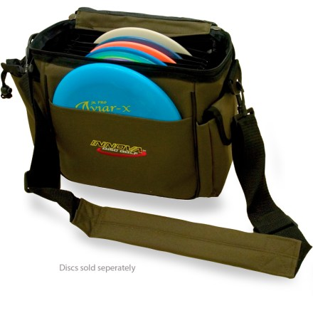 Sports With its light weight and medium size, this Innova disc bag is perfect for players who don't want to lug a cumbersome, heavy load around the course. - $29.00