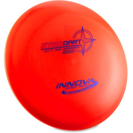 Golf The slow flying Innova Star Dart putt and approach disc will make control shots shots easy with its ability to fly straight at low speeds. Stability and great grip make this disc an excellent choice for straight approaches and long-range putts. Crafted with a blend of grippy, resilient polymers to offer the best combination of grip and durability. Innova Star Dart is PDGA approved for use on all disc golf courses. Sorry, color and weight requests cannot be accommodated; please shop in-store for specific colors and weights. - $12.93