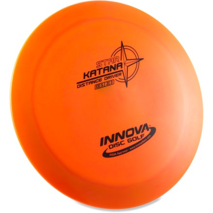 Golf The Innova Disc Golf Star Katana distance driver disc is ideal for advanced players who throw huge turnover shots and tailwind drives with finesse. Crafted from a blend of resilient polymers to offer the best combination of grip and durability. Innova Disc Golf Star Katana is PDGA approved for use on all disc golf courses. Sorry, color and weight requests cannot be accommodated; please shop in-store for specific colors and weights. - $12.93