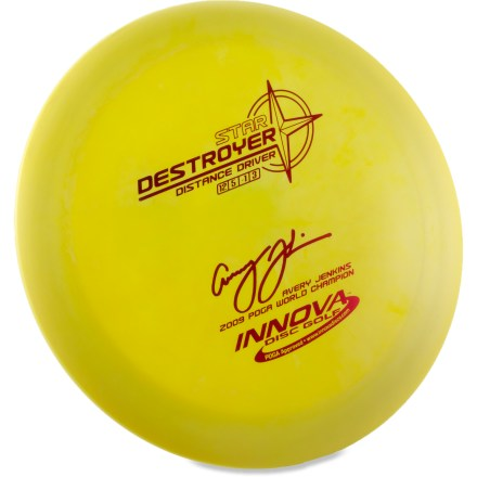 Golf The fast and stable Innova Disc Golf Star Destroyer driver disc is a distance driver with significant glide. It's great for powerful sidearm throws. High speed turn and flight characteristics provide excellent long hyzers and headwind drives. Crafted from a blend of resilient polymers to offer the best combination of grip and durability. Innova Disc Golf Star Destroyer is PDGA approved for use on all disc golf courses. Sorry, color and weight requests cannot be accommodated; please shop in-store for specific colors and weights. - $12.93
