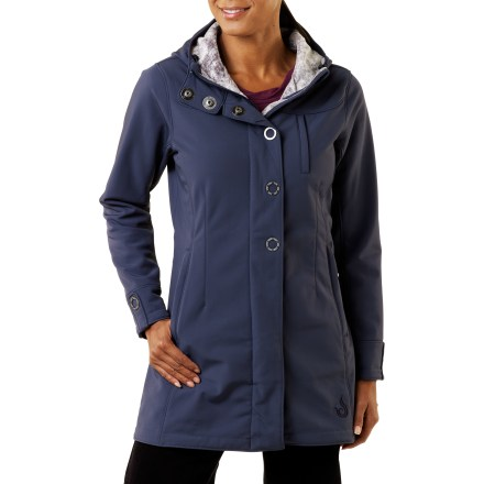 The Isis Queen City coat is the perfect transition piece for the chilly weather coming down the pike. This soft shell stretches and warms and has great style! Durable, yet soft and smooth shell fabric repels wind, water and stains and stretches for ultimate comfort; pretty microfleece bonded lining adds warmth. 2-way front zipper has an internal storm flap to keep wind from penetrating; Isis ring-snaps decorate the front placket and the chin guard protects sensitive skin. Attached hood with drawcord increases protection. Back belt panel with slick top stitch detail creates a flattering shape; decorative ring-snap on each cuff. Plush fleece-lined zip hand pockets and zip security chest pocket; 2 internal drop-in pockets. - $138.93