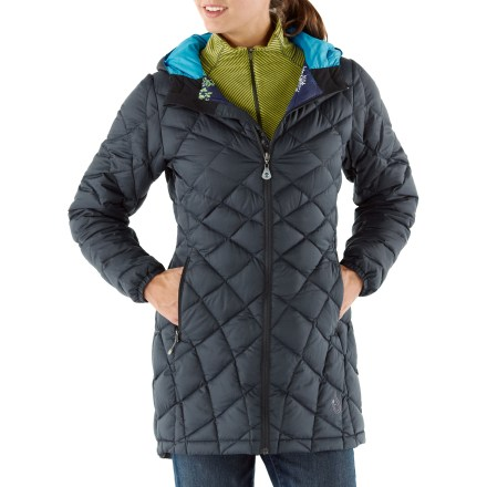 "The down-filled Isis Whisper down coat is an wonder of lightweight warmth and beautiful function. Shell fabric is tightly woven to provide a downproof barrier that keeps warmth in and wind out while letting your body breathe. Down is a natural insulator and delivers lofty warmth at minimal weight; down is extremely resilient-scrunch it up, shake it out, and it's ready to keep you warm again. On dark winter days the brightly printed nylon taffeta lining adds a bit of cheer. Durable Water Repellent finish causes water to bead up and roll off, fending off light rain showers and snow. Asymmetric quilting keeps the down in place and avoids the ""too-puffy"" look. Insulated hood adjusts to prevent the cold from seeping inside. Reverse-coil front zipper with a no-snag draft flap; velvet-lined chin guard is soft next to skin. Elastic cuffs and drawcord hem seals in warmth. Isis Whisper down coat has zip handwarmer pockets; internal stow pocket and zip security pocket. Includes a mini stuff sack. - $159.93"