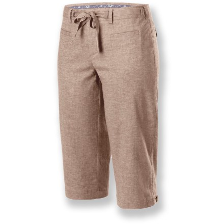 Camp and Hike The Isis Hang-Loose Capri pants let you kick back and relax in style. Hemp/recycled polyester fabric is lightweight and breathable; touch of spandex ensures pants move with you. Zippered fly features a button closure. External drawstring secures pants in place; drawstring is removable. 2 front pockets and 2 back pockets with button closures round out features. Closeout. - $25.83