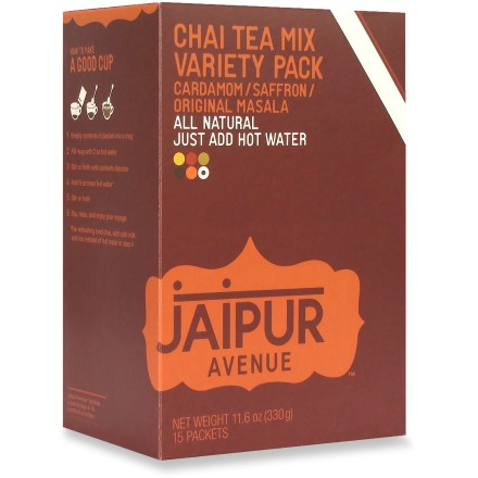 Camp and Hike Enjoy a steaming cup of chai tea anytime, anywhere with the all-natural Jaipur Avenue chai tea mix. Original Masala flavor includes spicy notes, soothing aromas and velvet textures. Variety pack includes Cardamom tea, Saffron tea and Original Masala tea. Cardamom flavor has woodsy undertones, a refreshing aroma and a natural sweetness. Saffron flavor includes sensuous notes, a floral fragrance and a touch of sweetness. Empty contents of packet into a mug, add 2 fl. oz. of hot water and stir until contents dissolve; add 6 fl. oz. more hot water, stir and enjoy. Each box of Jaipur Avenue chai tea mix contains 15 individually packed servings. - $12.00