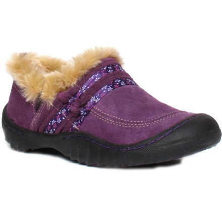 The Jambu Splendor mocs will dazzle youngsters and parents alike-sturdy, supportive and not without flair, all in this highly versatile pair of shoes. Brushed suede uppers hold up to the rigors of everyday wear. Faux fur linings offer a cozy, stylish outline to entrances of the shoes. EVA midsoles offer soft but supportive cushioning for walking and playing. Sturdy, recycled rubber soles offer traction to protect young ones from slips and falls. Girls' Jambu Splendor mocs feature a loop at the heel for easy on and off. - $49.95