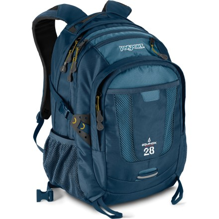 Camp and Hike The JanSport Equinox pack offers 28 liters of room for your gear, whether you're traversing campus or tackling your favorite done-in-a-day scramble. Light and padded shoulder straps are made with molded foam and angled vent holes; they feature a breathable mesh underside for added comfort. Padded back panel with moisture-wicking mesh promotes cooling airflow; webbing hipbelt helps keep pack stable as you stroll and can be tucked away when not in use. 2 spacious compartments offer plenty of packing space for your day's adventure; padded sleeve accommodates a 15 in. laptop or hydration reservoir (sold separately). Mesh side pockets are perfect for water bottles; front utility pocket with internal organizer and small top pocket keep accessories in order. Includes ice axe loops and quick-release compression straps. The JanSport Equinox pack is made of 420-denier nylon with an 840-denier ballistic nylon bottom. - $49.93