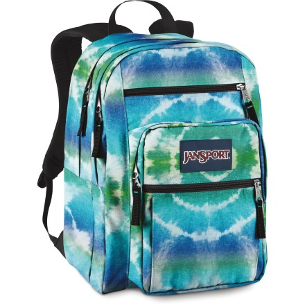 Entertainment The Jansport Big Student daypack, with 2 main compartments carries your textbooks, binders, notebooks, lunch, electronics, gym clothes and a sweatshirt. You won't have to leave anything behind. Fully padded back panel and ergonomic, molded-foam shoulder straps combine to carry even the heaviest loads in comfort. Large dual main compartments provide versatile storage. Exterior pockets includes a front utility pocket with organizer, pleated front stash pocket and a zip front stash pocket. Webbing haul handle provides an alternative and convenient carry for the Jansport Big Student daypack. - $29.93