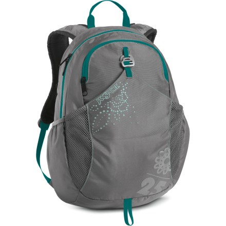 Camp and Hike The JanSport Clouds Rest 25 pack is a great choice for quick trips down the trail, heading to class, or daily commutes. Large main compartment features panel load access for easy access to gear; padded interior hydration pocket fits a 3 liter reservoir (not included) or a 15 in. laptop. Front stash pocket is perfect for quick-access items, and features a fun screen printed graphic. Dual water bottle pockets on sides. Perforated EVA dual-density shoulder straps for comfortable carry; sternum strap and hipbelt keep pack close. Hypalon grab handle. Closeout. - $30.73
