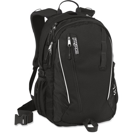 Camp and Hike The JanSport Agave daypack comfortably carries a laptop and essentials to school or work, and is then ready to hit the trail when the weekend comes. AirCore(TM) shoulder straps combine comfort and performance with breathable mesh and contoured, extra-thick foam that conforms to your body. Breathable mesh back panel helps you stay dry and comfortable. Dual main compartments let you separate and organize items. Laptop sleeve with padded bottom doubles as a hydration-compatible compartment (reservoir not included). V-loft security pocket at the top of pack gives you quick access to your music player and features an exit port for headphones. Front utility pocket with vertical access is perfect for storing often-used items. Mesh side pockets carry water bottles or other small items. Side compression straps let you cinch down loads for jostle-free carrying. Daisy chain and ice axe loop provide handy attachment points on the exterior of the pack. The JanSport Agave day pack is made of 420-denier nylon and 820-denier ballistic nylon for durability. Closeout. - $41.93