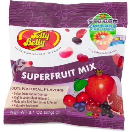 Camp and Hike The Jelly Belly Superfruit bean mix includes 5 exciting flavors that burst with fresh fruit taste. All beans are made with real fruit juices and purees, as well as flavors and colors from natural resources. Mix contains the flavors Acai Berry, Barbados Cherry, Blueberry, Cranberry, and Pomegranate. 1 serving provides 25% of the recommended daily value of vitamin C. Jelly Belly Superfruit bean mix is fat free and gluten free. *Discount will be applied when you check out; offer not valid for sale-price items ending in $._3 or $._9. - $2.50