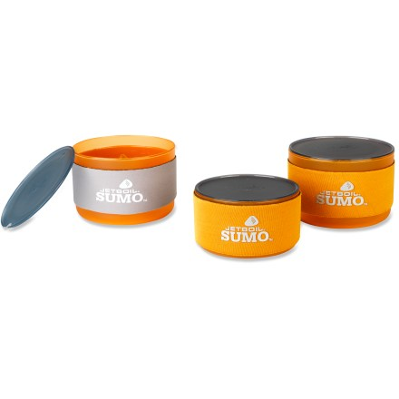 Camp and Hike The light and compact Jetboil Sumo Companion bowl set nests neatly inside a Jetboil Sumo Companion cup (sold separately) to give you a total of 61 fl. oz. (1.8 liters) of serving capacity. Includes two 23 fl.oz. bowls, one 15 fl. oz. bowl and a lid for each bowl. Bowls nest together and fit inside a Jetboil Sumo cooking cup along with a burner base, pot support, stabilizer and 100g or 230g fuel canister (all sold separately). Jetboil Sumo Companion bowls are made from lightweight, durable polypropylene that is BPA free. Lids snap onto the cups and include drinking spouts. Reversible insulating cozies are silver on 1 side and orange on the other to help you keep track of which bowl is yours. - $13.93