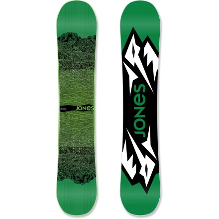 Snowboard The Jones Mountain Twin snowboard lets you rally the mountain like it's your own personal skate park! From carving up corduroy to sliding rails and snaking through the trees, this board does it all! Strap into the twin profile and directional flex of the Mountain Twin when you feel like rallying the mountain to be your own personal skate park. From soft stashes to corduroy jump lines, the Mountain Twin knows no boundaries and neither should you. Camrock, a distinctive rocker/camber flex pattern, evenly balances tip and tail rocker and slight camber between the bindings. Camrock improves freestyle finesse by keeping your tips playful while maintaining the power and pop of camber underfoot. Mellow Magne-Traction improves edge grip by adding multiple contact points along the running length of the board. Full wood core is comfortable and robust; it's a true all-terrain core and certified by the Forest Stewardship Council. Carbon stringers improve pop and torsional stiffness and increase the longevity of the flex profile; this lightweight layer helps the board perform the same on day 99 as day 1. Film topsheet replaces traditional plastic topsheet, eliminating plastic and reducing the board's weight. Sintered base is durable, absorbs wax fast and retains the wax longer; carbon nano particles and other additives enhance glide. This base is specially developed by Nidecker and is very resistant to impacts. . - $479.00