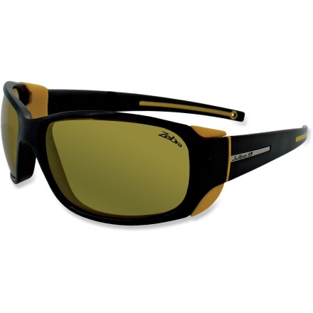 Camp and Hike The Julbo MonteBianco Zebra sunglasses with photochromic lenses can be worn in low to extreme light, on the glacier and on the trail for protection in any condition. - $160.00