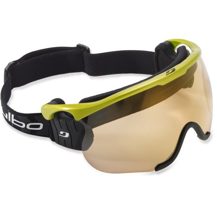 Ski Designed for cross-country skiiers, the Julbo Sniper L snow goggles supply optical protection with a wide field of vision and adaptive photochromic lenses. - $80.83