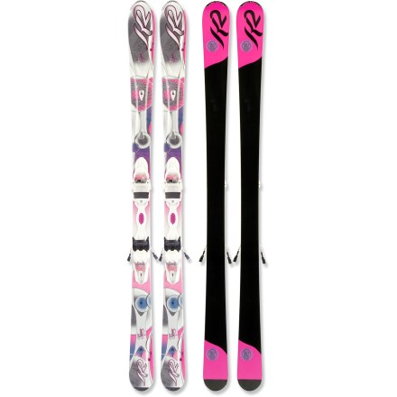 Ski The K2 SuperSweet skis with bindings provide the stability required to venture over difficult terrain with confidence. K2 SuperSweet skis with bindings really excel when you're sticking just to the groomers, and if you find yourself going off-piste, they won't disappoint. Lighter than all previous women's K2 skis by 10 - 15%, the K2 SuperSweet skis with bindings are even easier to drive down the mountain. Bioflex2 core combines aspen, paulownia and bamboo woods to create a ski that is stable and predictable underfoot. Triaxial braiding wraps an interlocking fiberglass weave around the wood core providing torsional stiffness, responsive turning and sensitivity. Cap construction envelops the core with the top layer of the ski, keeping weight low and durability high; sidewalls in the binding area increase edge grip and responsiveness. Women-specific, shock-absorbent secondary core works as a high-performance damping system, and a precisely placed zinc insert helps further reduce unwanted vibrations. Tip and tail rocker initiates turns easily and offers agile performance on soft snow, and normal camber underfoot offers responsive power and tenacious edge hold on firm snow. Forward-shifted sidecut accommodates women's lower center of mass. Moving the mounting position forward 2cm places the center of mass of most women over the optimum area, allowing for great control and turn initiation. Marker ER3 10.0 integrated bindings provide responsive control. When designing the ER3 bindings, Marker widened the integrated hubs to enhance power transfer and shortened the distance between them to accommodate women's boot soles. These modifications make it easy to get the ski on edge; Marker also reduced the average weight of the binding by a pound! Binding features DIN 3 - 10 release settings. - $299.83