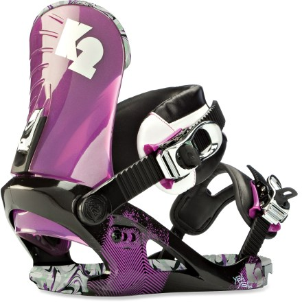 Snowboard K2 Yeah Yeah bindings feature women-specific Tweakback highbacks. With a soft, forgiving flex and just the right amount of support you'll easily find your own tweaked-out style. - $84.83