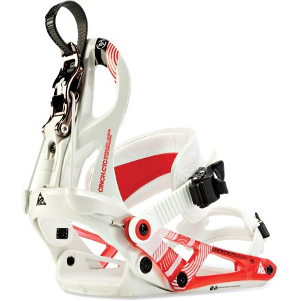Snowboard The K2 Cinch CTC snowboard bindings offer all-mountain shredders comfort and control on the slopes. C1 chassis offer full flex motion and a precise boot-to-binding fit. Highbacks fold back and the ankle straps lift up, allowing quick, easy entry and exit without compromising snug fit. Another advantage is your hands stay warm and your backside stays dry! Lightweight highbacks feature a center spine for heelside power and response; also offers a full-range of forward-lean and rotation adjustments you set with tool-free levers. Footbeds feature tool-free adjustable Power Ramps and shock-absorbent EVA heel pads. Ankle straps feature a 3D shape with a narrow waist and thin construction for free-flexing motion; gel inserts, EVA and neoprene padding cushion the fit. Cored toe straps can be worn over the tops or over the toes of your boots; both straps offer easy, tool-free adjustment. Reinforced polymer ratchets with EZ Feed ankle housings allow on-the-fly adjustment for a painlessly fast and precise fit. Closeout. - $114.83
