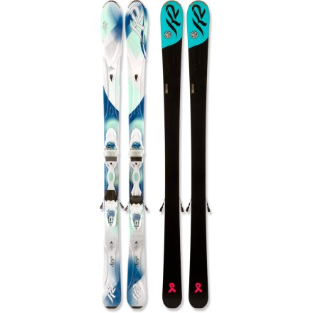 Ski Lightweight allies for graceful turns, the women's K2 SuperIfic skis with bindings enhance enjoyment all over the mountain. K2 recommends the SuperIfic skis with bindings for 60% groomed skiing / 40% ungroomed skiing. Bioflex1 core combines aspen, paulownia and bamboo woods to create a ski that is both stable and forgiving. Triaxial braiding wraps an interlocking fiberglass weave around the wood core to provide torsional stiffness, responsive turning and sensitivity. Cap construction envelops the core with the top layer of the ski, keeping weight low and durability high. Women-specific, shock-absorbent secondary core works as a high-performance damping system, and a precisely placed zinc insert reduces unwanted vibrations. Elevated tip eases turns in soft snow, and normal camber underfoot provides potent power, energy and edge hold on firm snow. Forward-shifted sidecut accommodates women's lower center of mass, easing turn initiation. Marker ER3 10.0 integrated bindings are shorter, lighter and more flexible than the men's equivalent, generating serious power and precision. Lighter than all pre-2011 women's K2 skis by 10 - 15%, the K2 SuperIfic skis feature thinner steel edges, reduced tails and lighter weight bindings. Bindings feature DIN 3 - 10 release settings. Base or topsheet color may vary from online photo. - $599.95