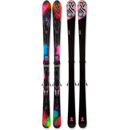 Ski Turn up the speed, and the women's K2 SuperBurnin skis with bindings ensure flawless transitions as you blaze down the slopes. K2 SuperBurnin skis with bindings really excel when you're sticking just to the groomers, and if you find yourself going off-piste, they won't disappoint. K2 recommends the SuperBurnin skis with bindings for 70% groomed skiing / 30% ungroomed skiing. Bioflex3 core combines aspen, paulownia and bamboo woods for a ski that delivers high performance and excellent durability. Metal laminate construction uses alternating layers of fiberglass and Titanal above and below the wood core to create a stiff flex profile. Sidewalls increase power underfoot, and cap construction in the tips and tails offers forgiving flex. Women-specific, shock-absorbent secondary core works as a high-performance damping system, and a precisely placed zinc insert helps further reduce unwanted vibrations. Slightly rockered tips with long, traditional camber underfoot promote effortless speed and agility on firm snow. Forward-shifted sidecut accommodates women's lower center of mass, easing turn initiation. Marker ERS 11.0 TC integrated bindings provide incredible control and snow feel. Lighter than all pre-2011 K2 women's skis by 10 - 15%, the K2 SuperBurnin skis feature thinner steel edges, reduced tails and lighter weight bindings. Base or topsheet color may vary from online photo. Bindings feature DIN 3 - 11 release settings. - $899.95