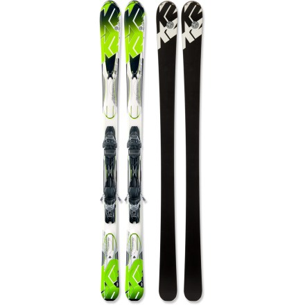 Ski Ready for big moguls, steep pitches and fast turns, the K2 A.M.P. Photon skis with bindings let you push your skiing to the next level. K2 recommends using the K2 A.M.P. Photon skis with bindings for 70% groomed and 30% ungroomed skiing. Fir-and-aspen wood core produces a natural flex, allowing the ski to achieve full contact with the snow throughout the turn. Triaxial braiding wraps an interlocking fiberglass weave around the wood core providing torsional stiffness, responsive turning and high sensitivity. Cap construction envelops the core and internal materials with the top layer of the ski, keeping overall weight light and durability high. Shock-absorbent secondary core works as a high-performance damping system, and a precisely placed zinc insert helps further reduce unwanted vibrations. Secondary core is wrapped in a fiberglass web for an additional lightweight level of torsional rigidity to keep you stable. All-Terrain Rocker initiates turns easily and offers agile performance, and normal camber underfoot offers responsive power and tenacious edge hold on firm snow. Marker K2/M3 10.0 integrated binding features a Compact toepiece and fixed Compact2 heelpiece to generate excellent power, precision and quickness. Integrated M3 binding plate is lower, lighter and wider than former binding plates for better transfer of power from the boot to the ski. Integrated binding systems allows the skis to flex naturally and fully from tip to tail for smooth turn initiation, hold and release. Binding features DIN 3 - 10 release settings. Base or topsheet color may vary from online photo. - $599.95