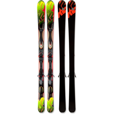 Ski Nimble and responsive underfoot, the K2 A.M.P. Rictor skis with bindings excel in all conditions. K2 recommends using the K2 A.M.P. Rictor skis with bindings for 50% groomed and 50% ungroomed skiing. Aspen-and-paulownia wood core is inherently strong and durable, and it produces a smooth, natural flex. Metal laminate construction alternates layers of fiberglass and titanal above and below the wood core to provide vibration damping and powerful responsiveness. Shock-absorbent secondary core works as a high-performance damping system, and a precisely placed zinc insert helps further reduce unwanted vibrations. All-Terrain Rocker initiates turns easily and offers agile performance, and normal camber underfoot offers responsive power and tenacious edge hold on firm snow. Progressive sidecut has different curve shapes along different parts of the ski-more aggressive in the tip, less aggressive in the tail. The progressive sidecut results in confident, quick turn initiation in hard snow and easy release in crud and powder. Hybritech sidewalls blend the performance characteristics of sidewalls with the forgiving flex of cap construction in the tip and tail. Hybritech offers responsiveness and power underfoot and maintains smooth initiation and easy exits from turns. Marker K2/MX 12.0 integrated binding system transfers power directly to the ski for unmatched precision and control during aggressive descents. Lightweight Marker Inter-Pivot heel acts over a wide surface area, transferring power directly to ski's edges for excellent carving performance. Embedded hubs in the core of the ski are 50mm apart, decreasing the distance between the binding and ski edge to enhance performance. Lightweight toepiece offers excellent contact with boots for today's wide skis, and a short profile enhances flex and backward release. - $899.95