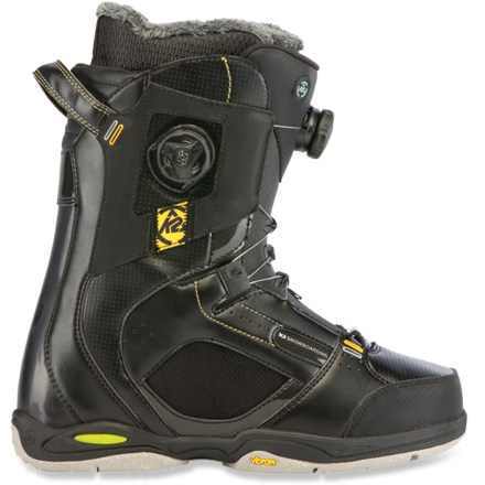 Snowboard K2 Thraxis snowboard boots keep feet cushioned and supported when shredding hard. Triple Boa(R) lacing allows maximum personalization to match both riding style and terrain. Boa Focus shell lacing system personalizes the fit by allowing the upper and lower zones to tighten independently of each other. Boa Focus concentrates closure on the instep and allows superior heel hold no matter how loose or snug the upper zone is cranked. Intuition(TM) Pro-Foam 3D stitched liners feature dual-density Ultralon(R), a flexible custom moldable EVA foam designed to resist pressure-related pack out. Integrated power straps provide stay-tight closure and extra support. Moldable, internal J-bars hold heels securely; highly-supportive liner bottoms include molded, dual EVA insoles with Harshmellow pods for extra damping and support. K2 Boa Conda(TM) liner lacing system allows you to control ankle support and heel hold on the fly while the shells are fully laced with external Boa reels. Smooth-functioning Boa reels anchor shells and liners together for perfect alignment; harness lacing through the floating tongue allows a personalized fit. Dual-density, 3D-formed tongues comfortably conform to the ankle and shin and help maintain critical snugness and control. Vibram(R) Pro Light soles feature Harshmellow(TM) cushioning for all-day comfort, whether strapped in or hiking up the hill. - $449.95