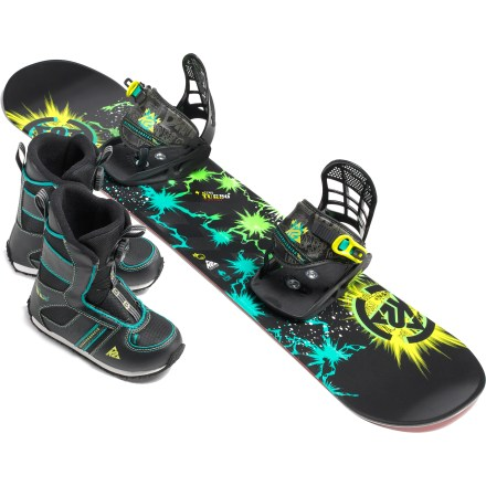 Snowboard A great gift for an aspiring snowboarder, the K2 Mini Turbo Grompack Snowboard/Boot/Binding package has everything he needs to get on the slopes. Mini Turbo snowboard features Catch Free Rocker that brings the catch points out of the snow to eliminate edge bite, helping them to learn how to initiate and complete turns. Hybrilight Noodle construction maximizes performance while reducing materials, creating a lightweight snowboard. Noodle core supplies plenty of flex, durability and snap for riders looking to challenge themselves and go to the next level. Biaxial fiberglass laminate is impregnated and cured hard prior to pressing the board, making it hard, strong, lively, and snappy. Extruded 2000 base offers a durable, fast and easy-to-tune surface that is ready to ride from day one. Mini Turbo bindings feature lightwieght chassis and highbacks that offer support and comfort. Single strap for easy in and out. EZ Feed ratchets help little hands get bindings buckled. Mini Turbo boots slide on easy; Boa(R) lacing offers on-the-fly micro adjustments and never comes untied. Integrated EVA foam liners hold feet tight and keep them warm; EVA insoles cushion landings. Durable rubber outsoles with EVA cushioning provide all-day comfort and support during landings. Heel and tongue pulls for easy entry. Kids' size 12 boots come with 90 cm snowboard; kids' size 13 and 1 boots come with 100 cm snowboard. Please note: package is sold based on boot size; sorry, packages cannot be split up. - $309.95